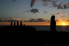 Great Stone Moai at Sunset